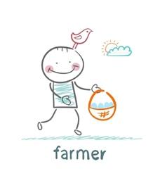 Farmer carries a basket of eggs vector