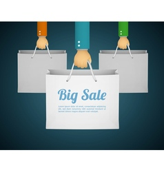 Flat style with hand holding paper bag vector