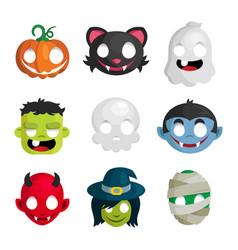 Halloween monster head icons vector