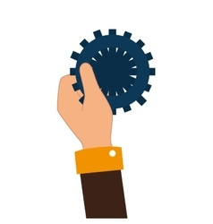 Hand human with gear setting isolated icon vector