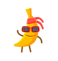 Happy smiling banana fruit in sunglasses and vector