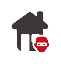 House with thief danger symbol vector