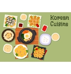 Korean cuisine traditional rice dishes icon vector