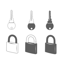 Lock and key icons vector image