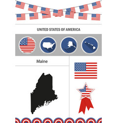 map of maine set of flat design icons nfographics vector image vector image