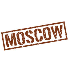 Moscow brown square stamp vector