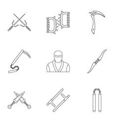Ninja arsenal icons set outline style vector