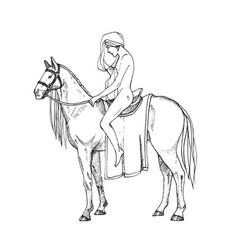 Nude women riding a horse lady godiva contour vector