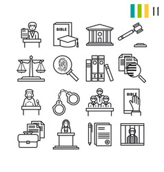 outline judiciary icons vector image