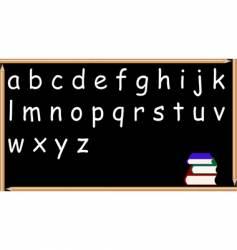 pencil blackboard with alphabet vector image vector image
