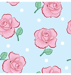 Pink roses and white dots on blue seamless vector image vector image