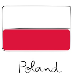 Poland flag doodle vector image vector image