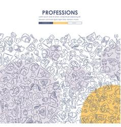 professions doodle website template design vector image vector image