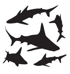 Shark silhouettes set vector