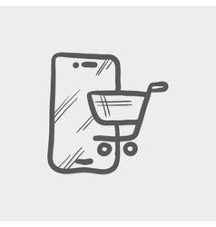 Shopping cart signboard sketch icon vector image