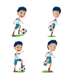 Soccer player character pose set vector