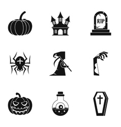 Terrible holiday icons set simple style vector