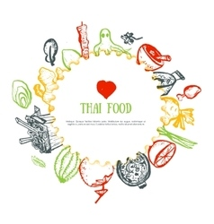 Thai food hand drawn rough doodles Thai sketch vector image