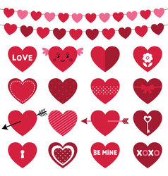 Valentines day decoration and hearts set vector