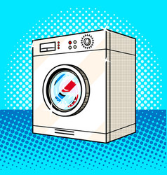 Washing machine pink color pop art style vector