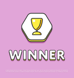 winner colour icon with trophy cup vector image