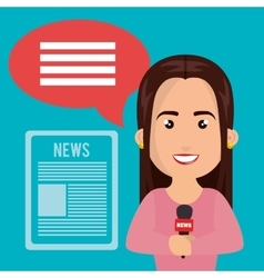 Woman journalist news icons vector