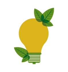 Yellow light bulb with leaves vector