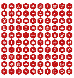 100 farm icons hexagon red vector