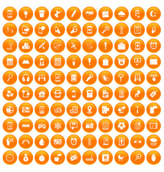 100 mobile app icons set orange vector