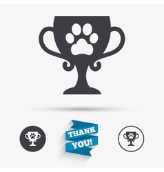 Winner pets cup sign icon trophy for pets vector