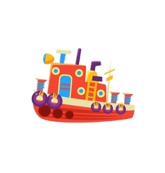 Steamer fishing toy boat vector