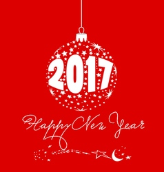 Happy new year 2017 with ball star vector