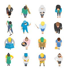 Professions Top View Colored Icons Set vector image