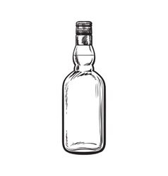 Unopened unlabeled full whiskey bottle vector