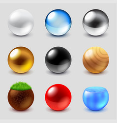 Spheres from different materials icons set vector