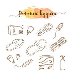 Menstruation feminine hygiene hand drawn set vector