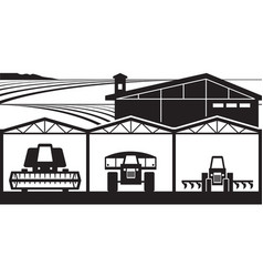 Farm yard with agricultural machinery vector