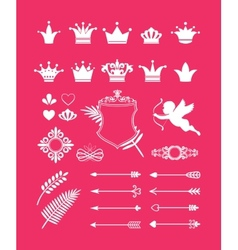 pink decor with crowns vector image