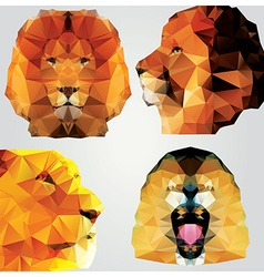 Collection of 4 geometric polygon lions pattern vector