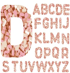 Candy alphabet letters - hand drawn font with vector