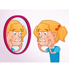 Girl with acne problem vector