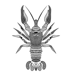 Zentangle stylized black crawfish hand drawn vector