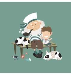 Old sailor sitting on bench with grandson vector image