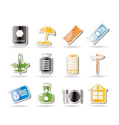 Simple travel and holiday icons vector
