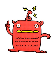 Comic cartoon weird little alien vector