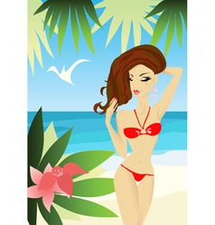 Sexy woman on the beach vector