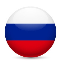 Round glossy icon of russian federation vector