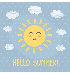 Hello summer card with a cute sun vector