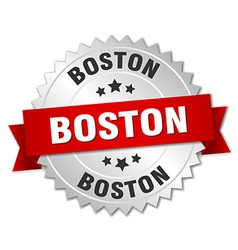 Boston round silver badge with red ribbon vector