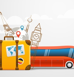 Vacation travelling composition with red bus vector